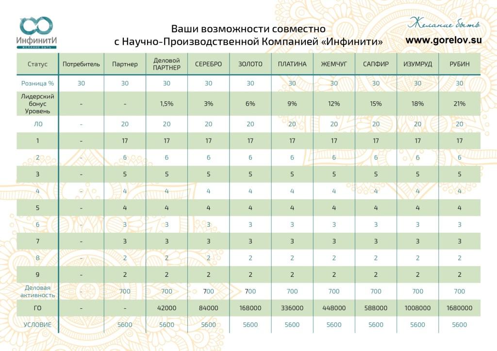маркетинг-план Инфинити, г.Пермь
