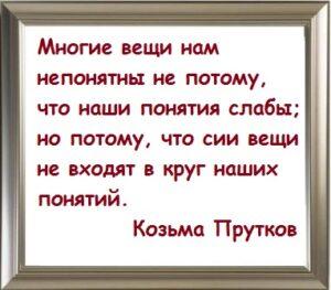 Многие вещи нам непонятны не потому, что наши понятия слабы; но потому, что сии вещи не входят в круг наших понятий. Козьма Прутков