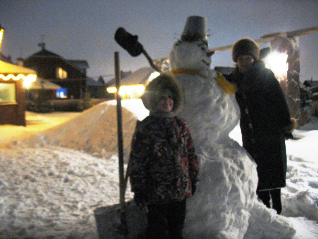 семья, снеговик